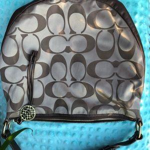 Brown Coach Logo Shoulder Bag